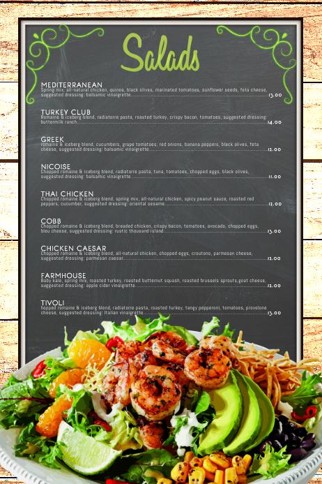 Salad Menu Template PosterMyWall