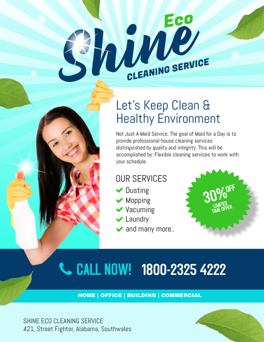 Copy Of Shine Eco Cleaning Service PosterMyWall