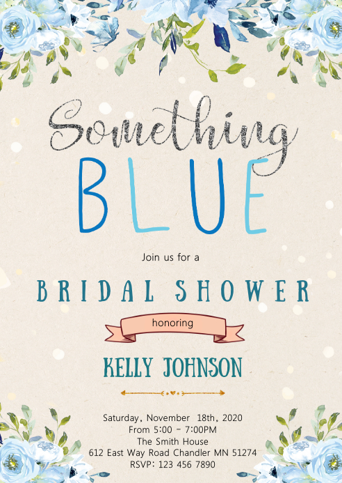Looking for bridal shower theme ideas? Something Blue Bridal Shower Invitation Template Postermywall