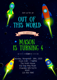 11 390 space birthday invitation