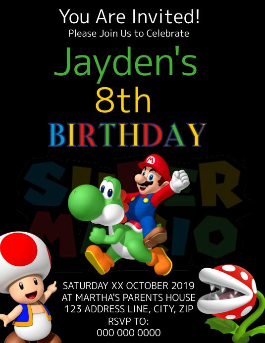 super mario kids birthday invitation