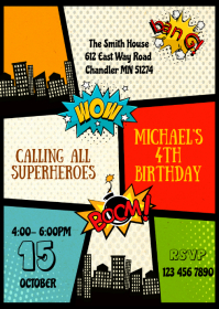 superhero party customizable design