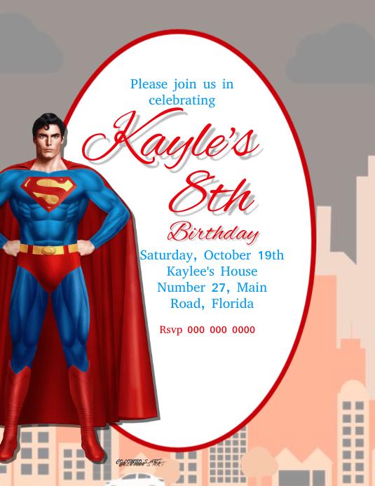 superman birthday party invitation