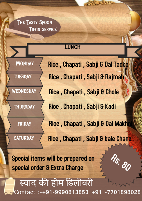 Tiffin Service Template PosterMyWall