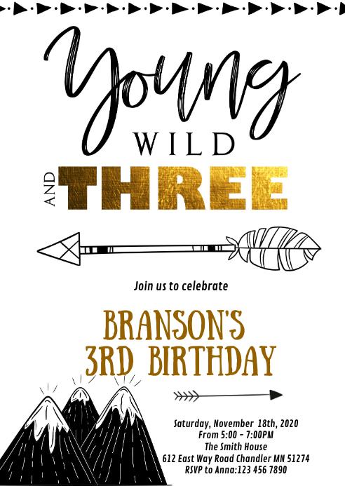 tribal 3rd birthday party invitation