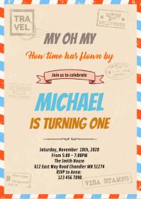 retro birthday invitation customizable