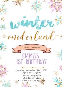 8 890 winter onederland invitation