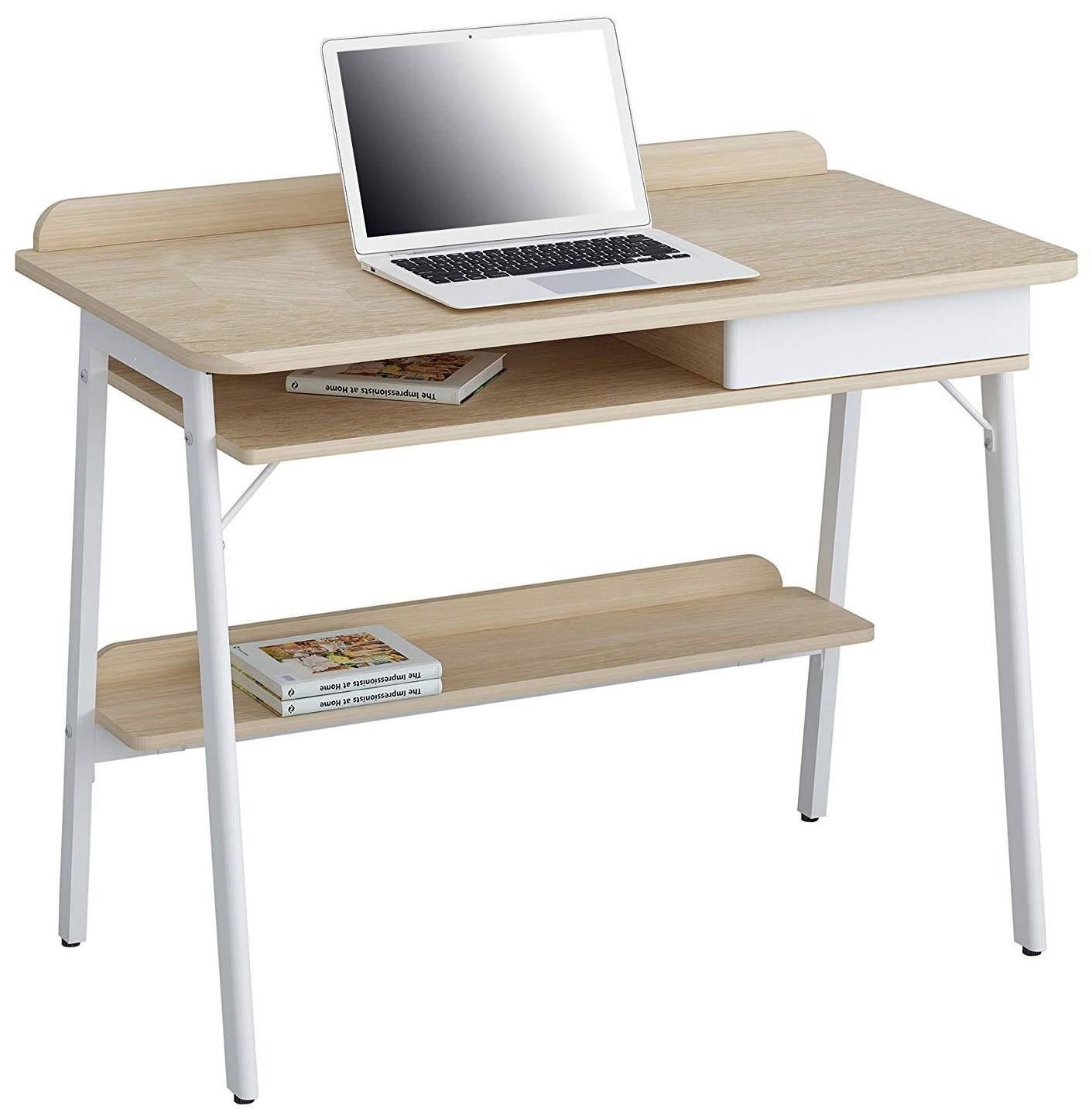 Compact Computer Desk White And Oak Aspect Computer Desks Office Furniture Office