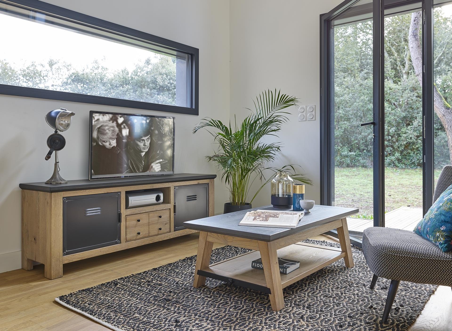 madison meuble tv 1 porte metal