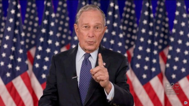 Michael Bloomberg speaks by video feed during the final night of the 2020 Democratic National Convention in August