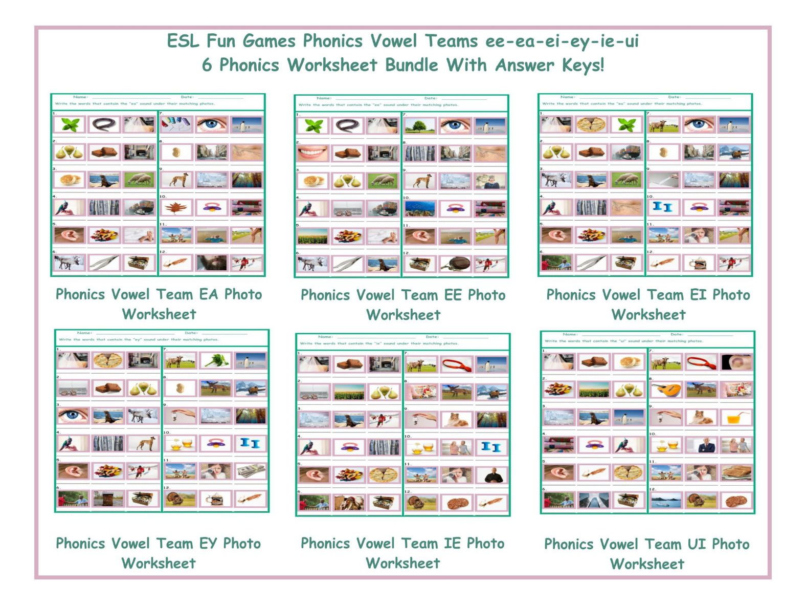 Phonics Vowel Teams Ee Ea Ei Ey Ie Ui 6 Worksheet Bundle