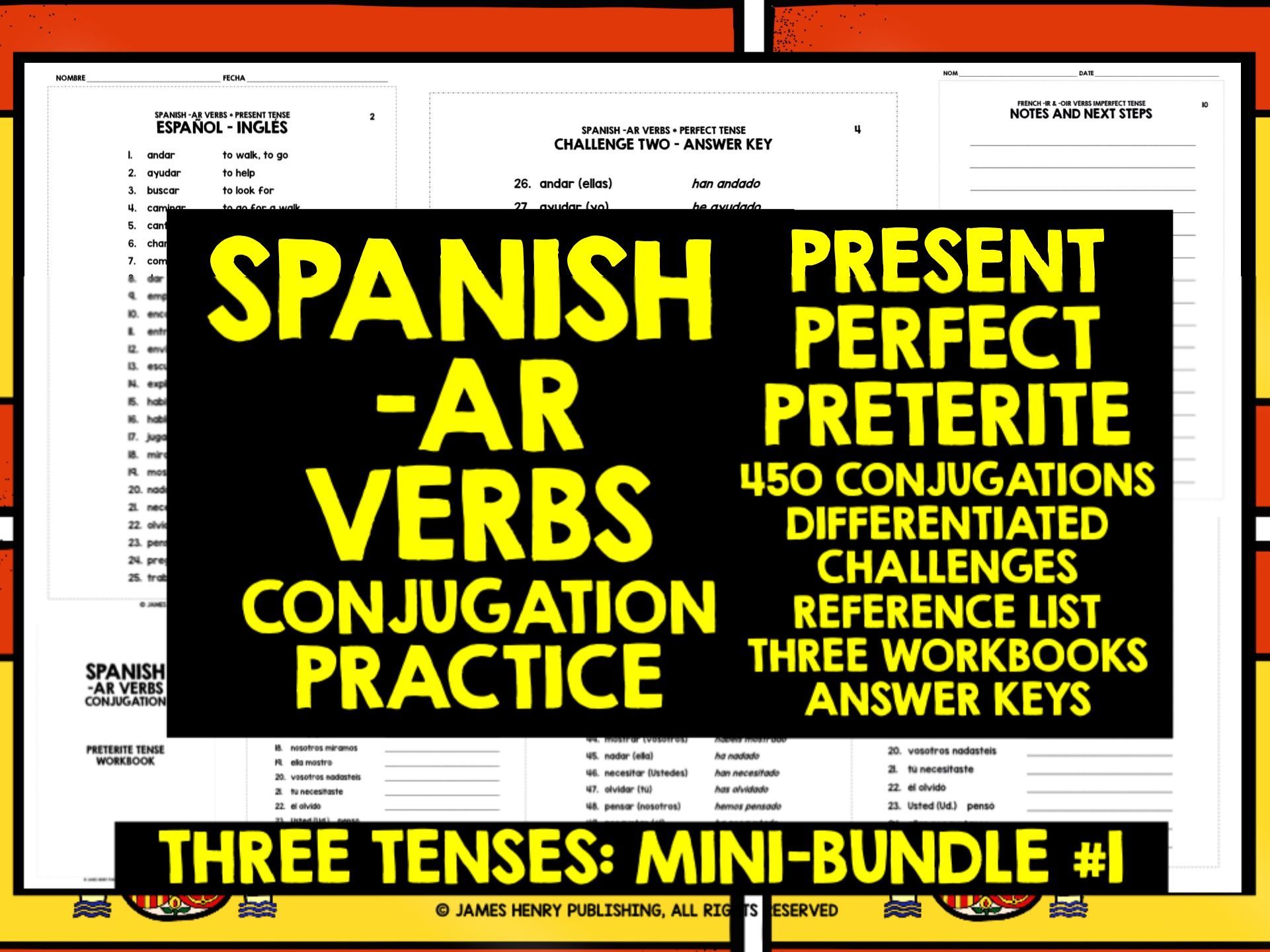 Spanish Ar Verbs Conjugation Mini Bundle 1