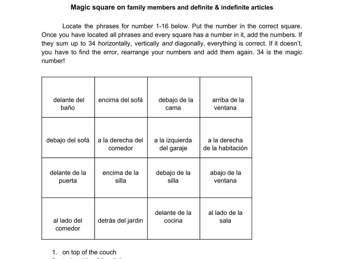 3 Magic Squares On Stem Changing Verbs Idioms Of Tener