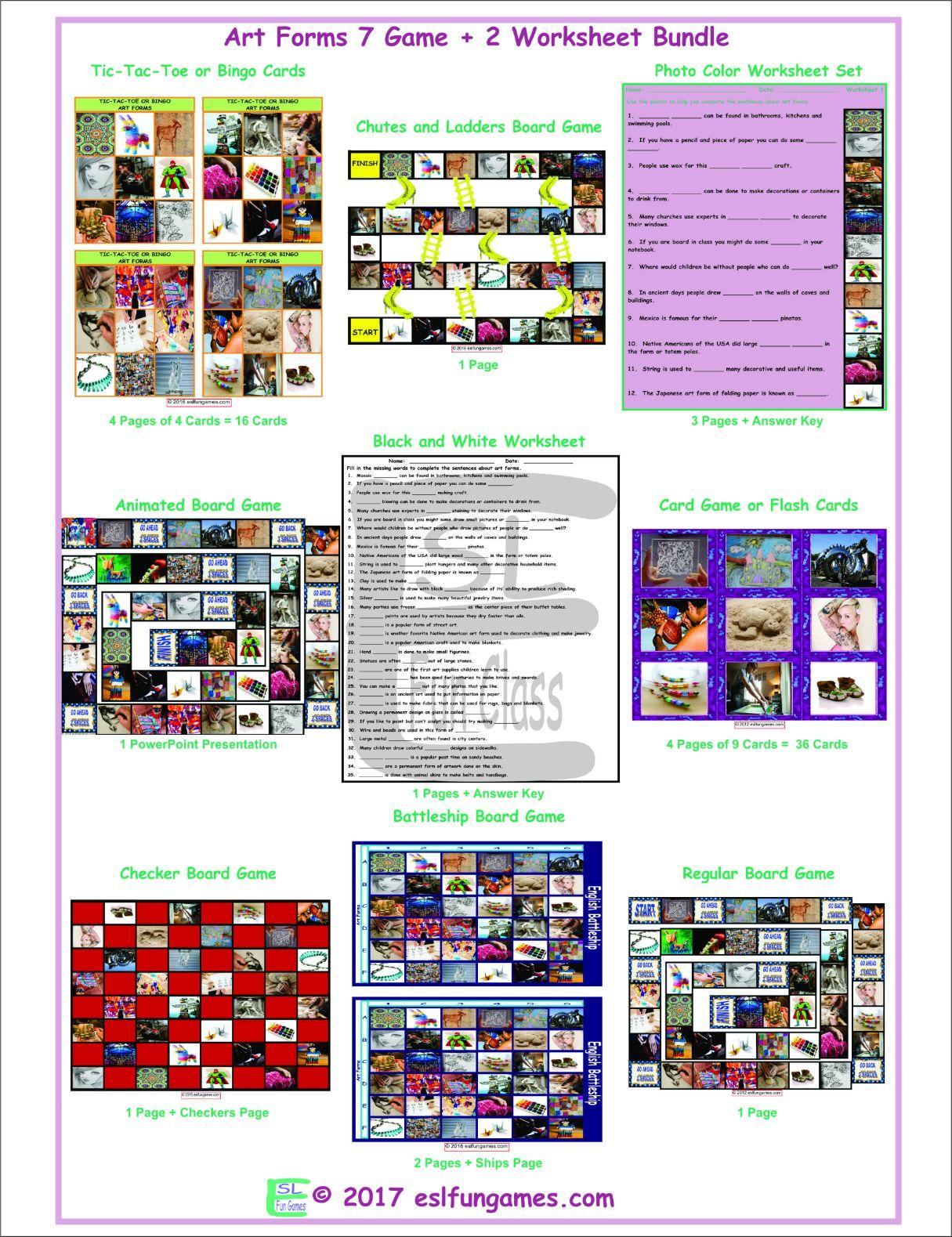 Art Forms 7 Game Plus 2 Worksheet Bundle