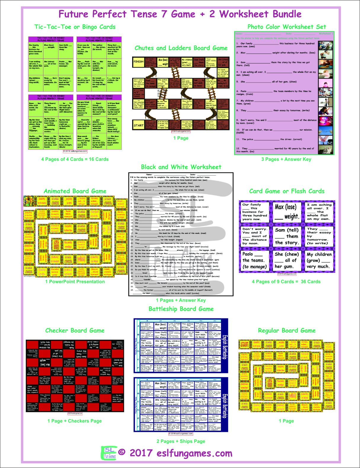 Future Perfect Tense 7 Game Plus 2 Worksheet Bundle By Eslfungames