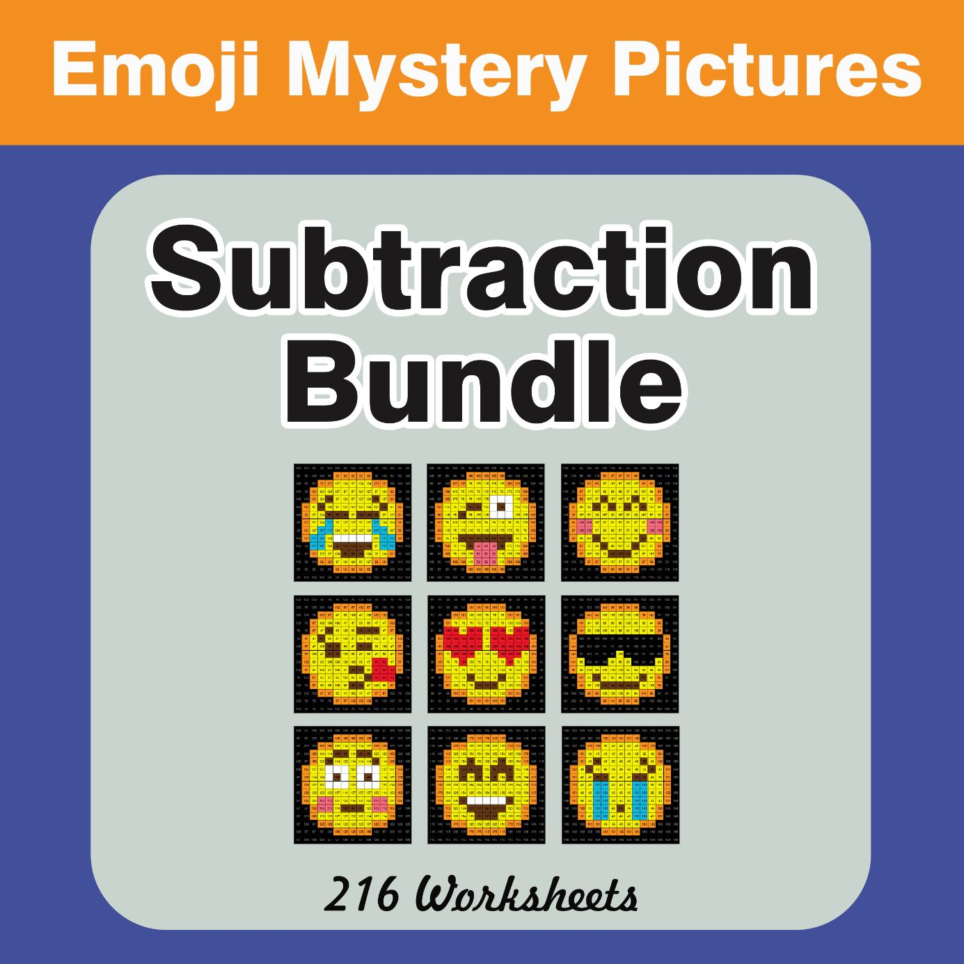 Subtraction Color By Number Emoji Mystery Pictures Bundle