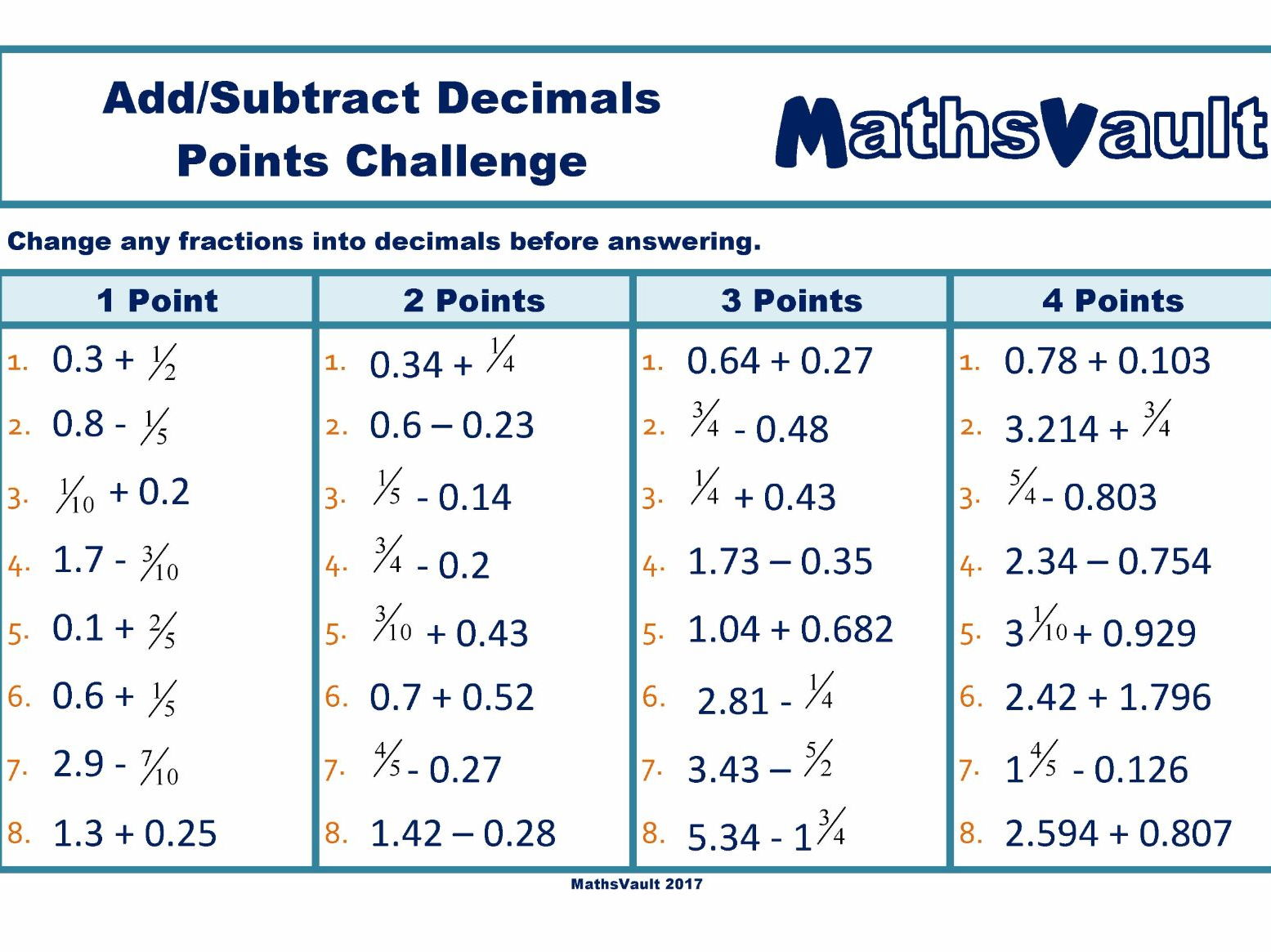 Decimals Points Challenge Bundle
