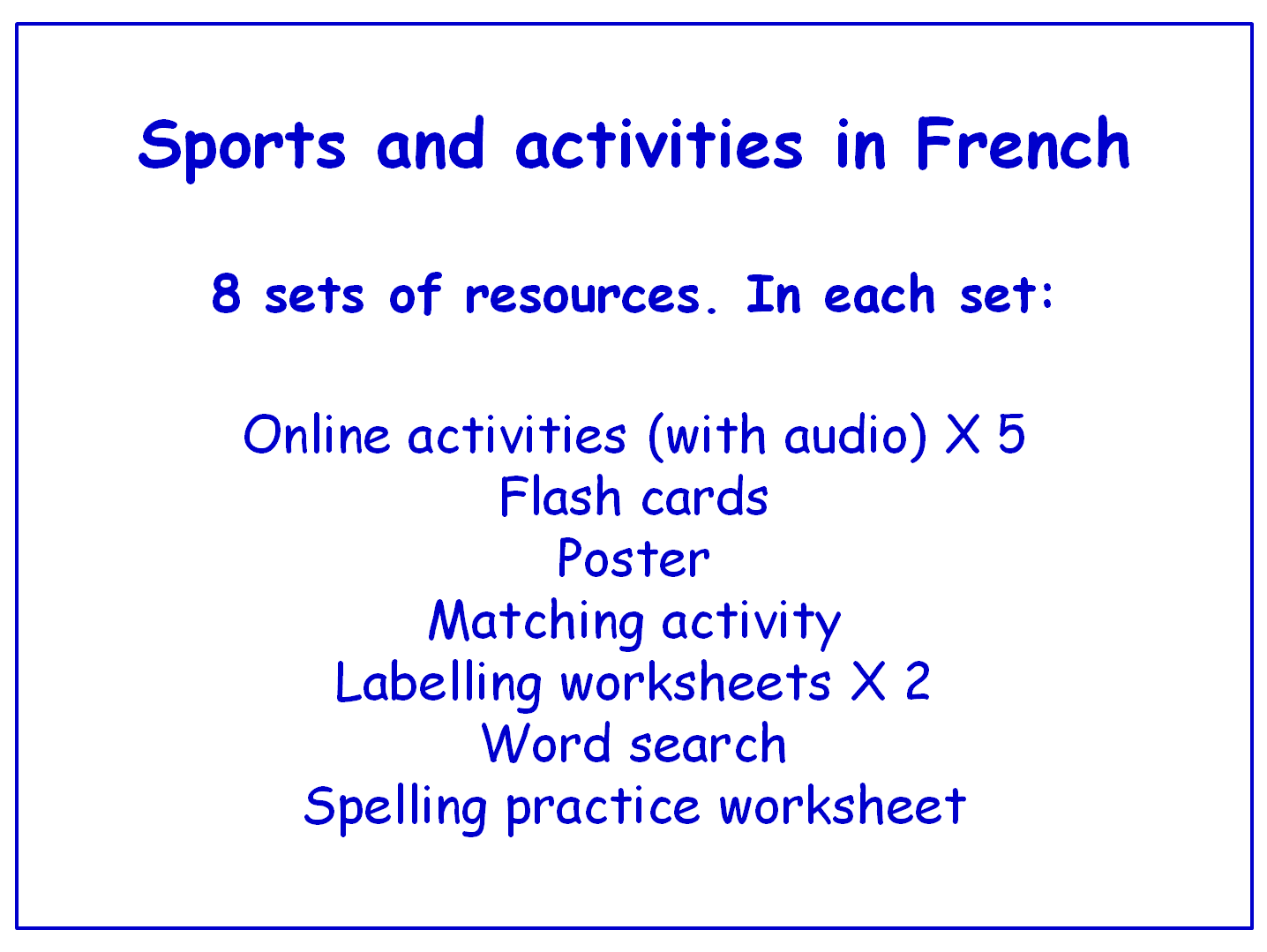 Sports In French Worksheets Games Activities And Flash