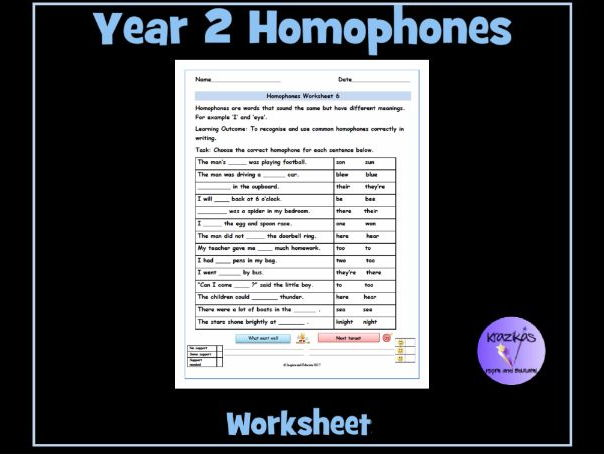 Homophones Year 2 Homophones Worksheet