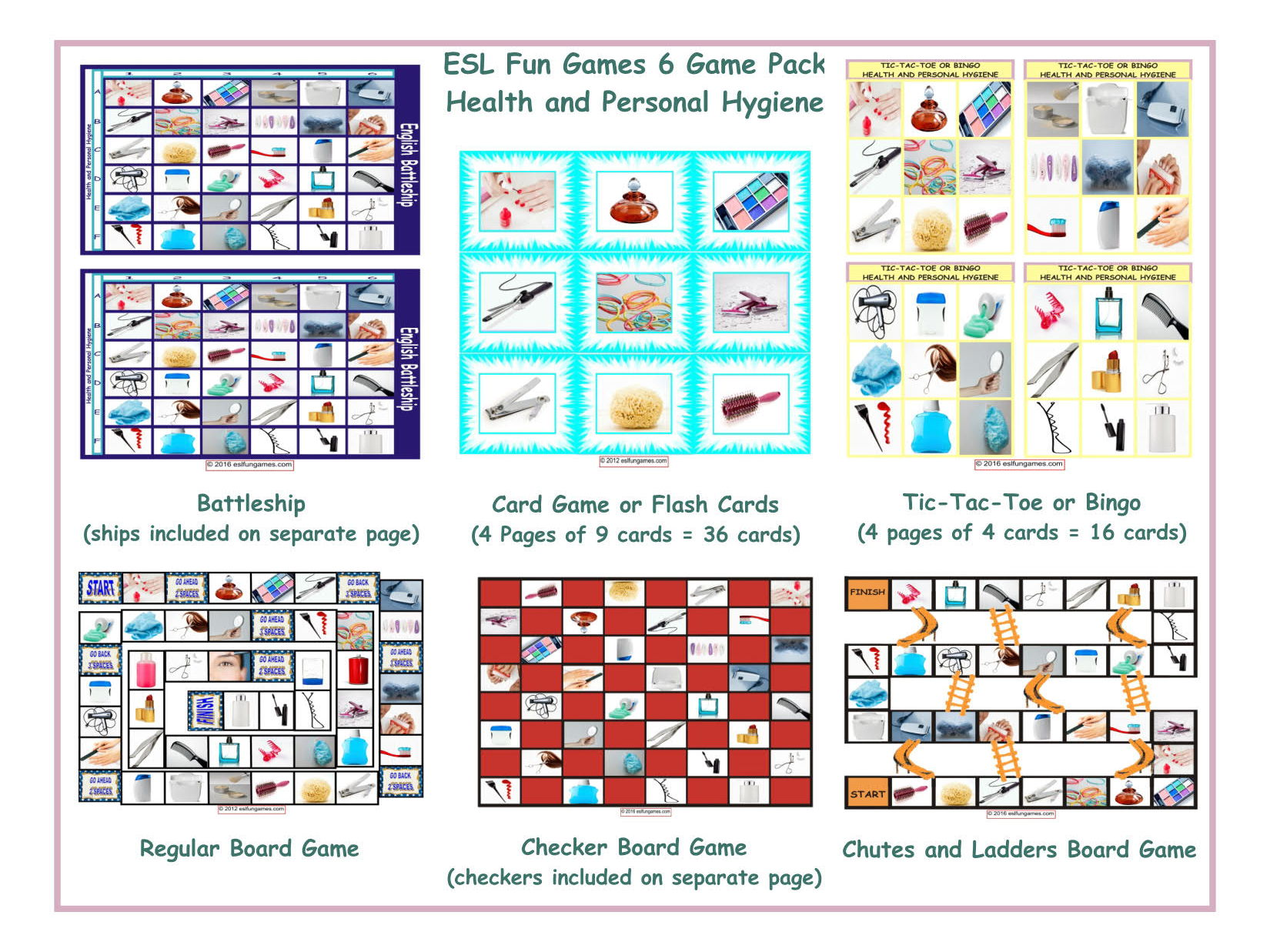 Health And Personal Hygiene 6 Board Game Bundle By