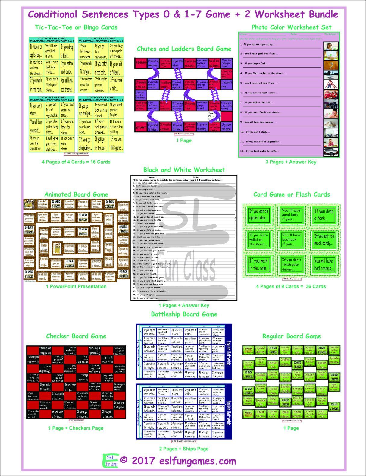 Conditional Sentences Types 0 Amp 1 7 Game Plus 2 Worksheet