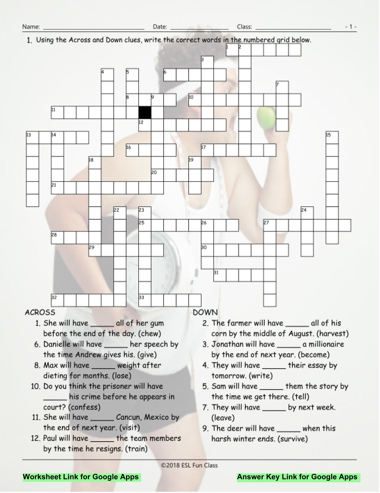 English Crossword Puzzles With Answers For Class 9