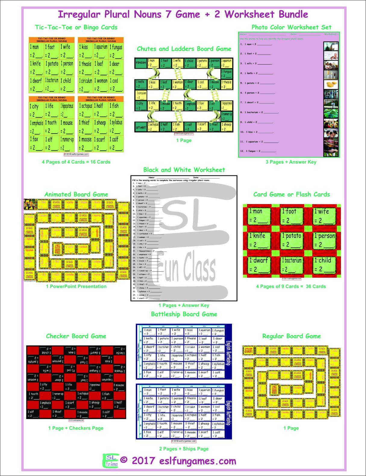 Irregular Plural Nouns 7 Game Plus 2 Worksheet Bundle By