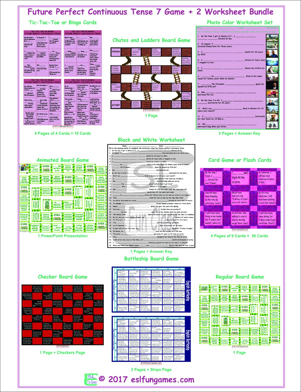 Future Perfect Continuous Tense 7 Game Plus 2 Worksheet