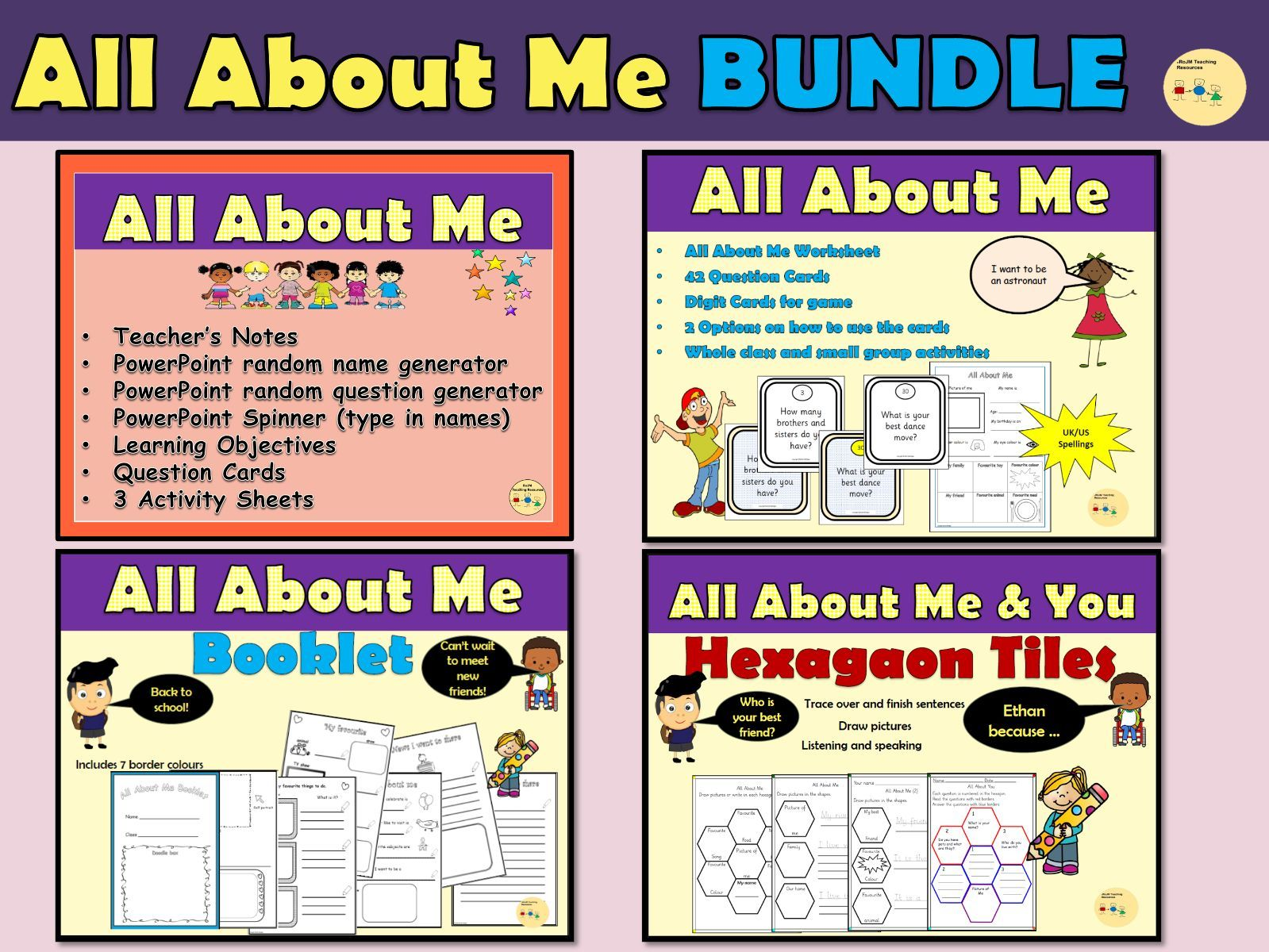 All About Me Back To School Worksheets Question Cards