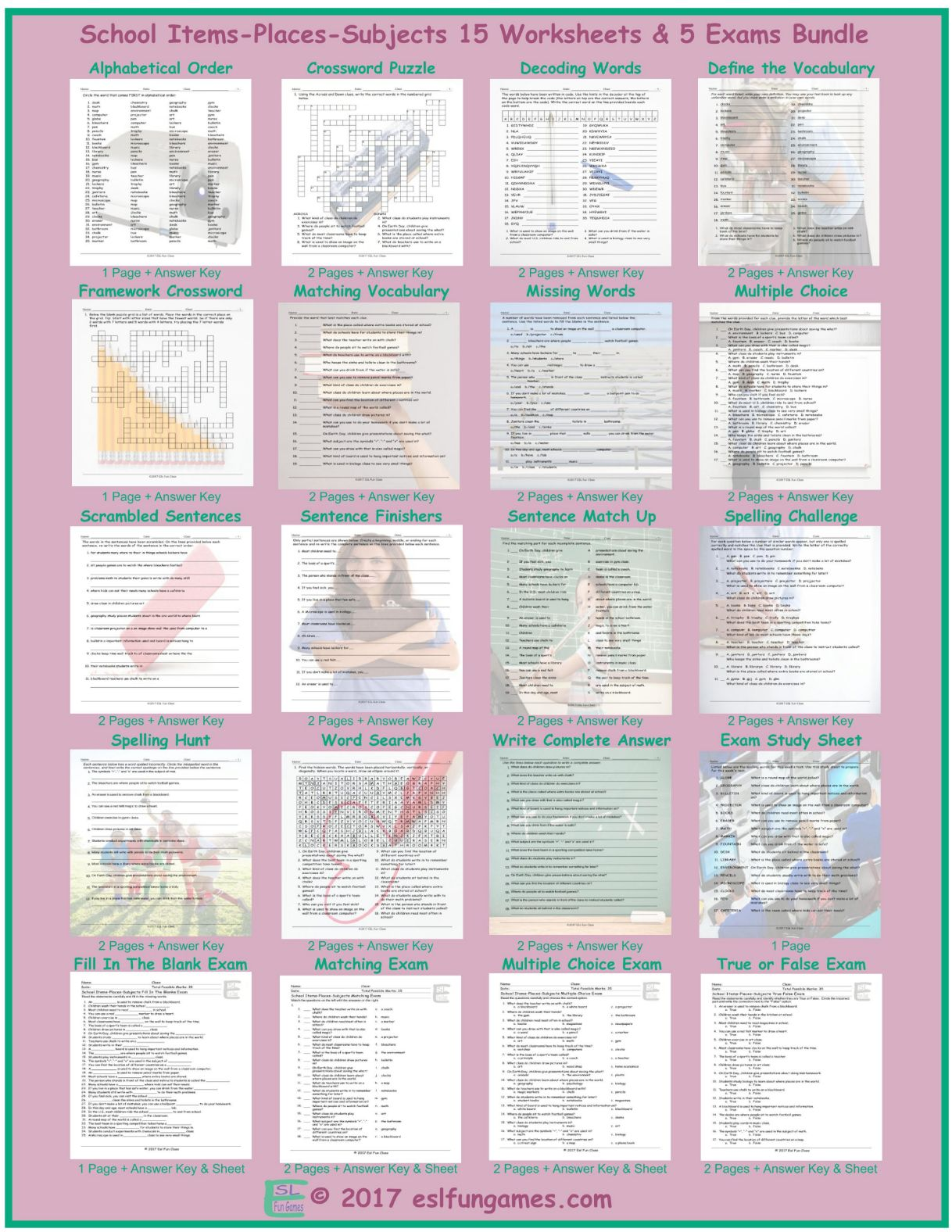 School Items Places Subjects 20 Worksheet And Exam Bundle