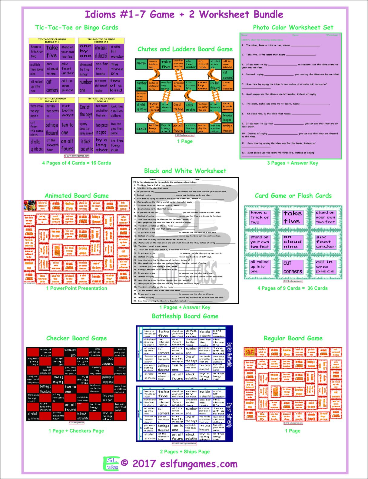 Idioms 1 7 Game Plus 2 Worksheet Bundle