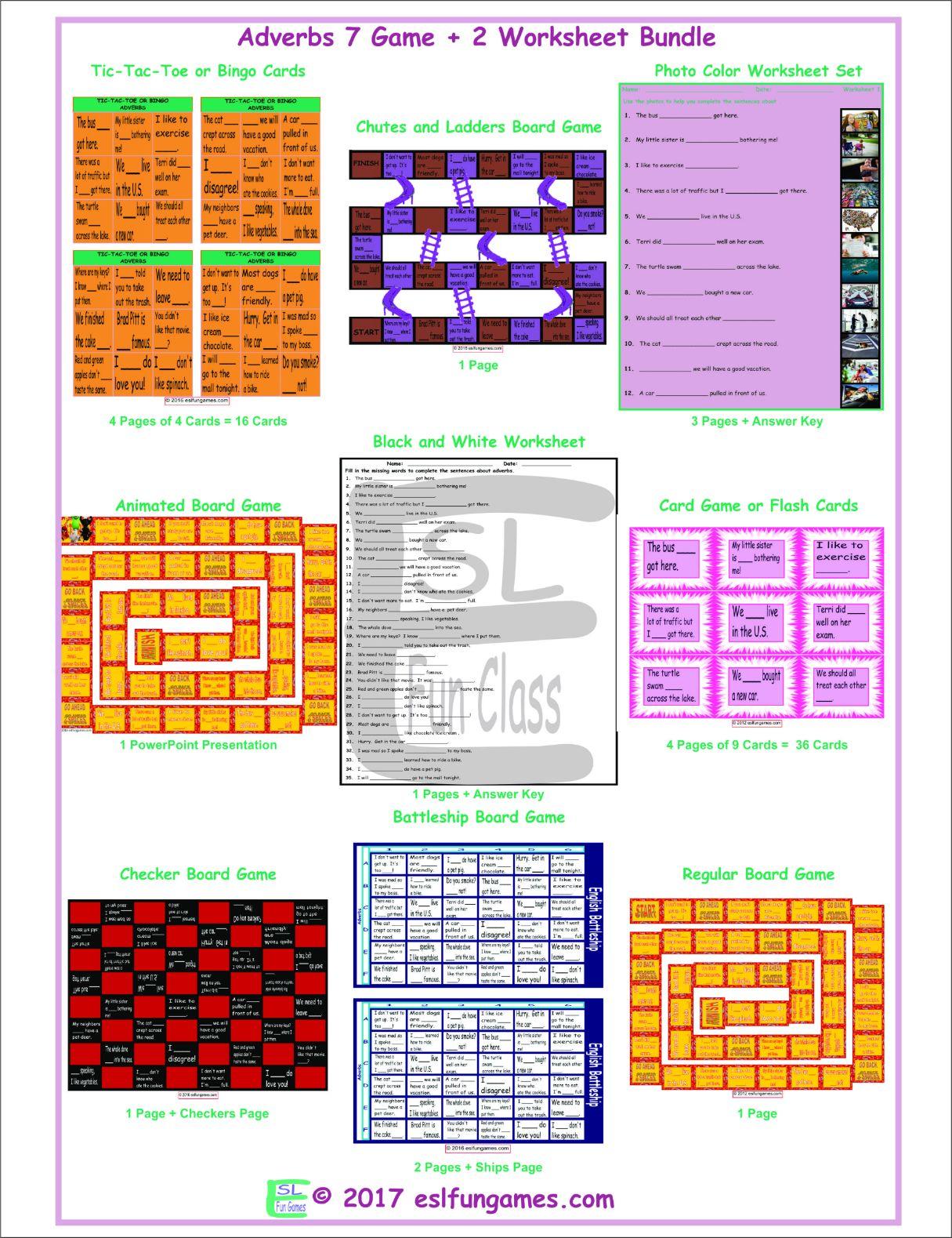 Adverbs 7 Game Plus 2 Worksheet Bundle