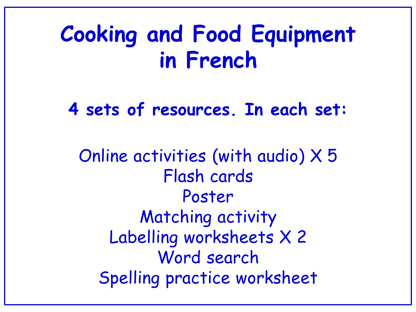 Cooking And Food Equipment In French Worksheets Games Activities And Flash Cards With Audio