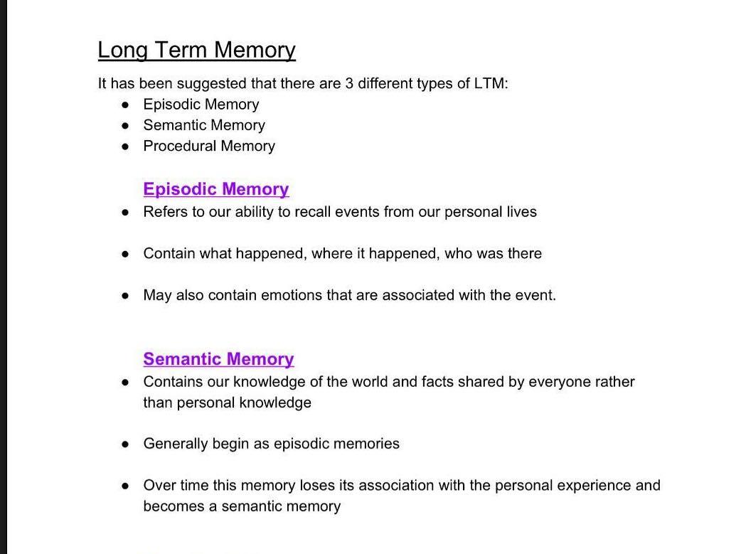 Long Term Memory Revision