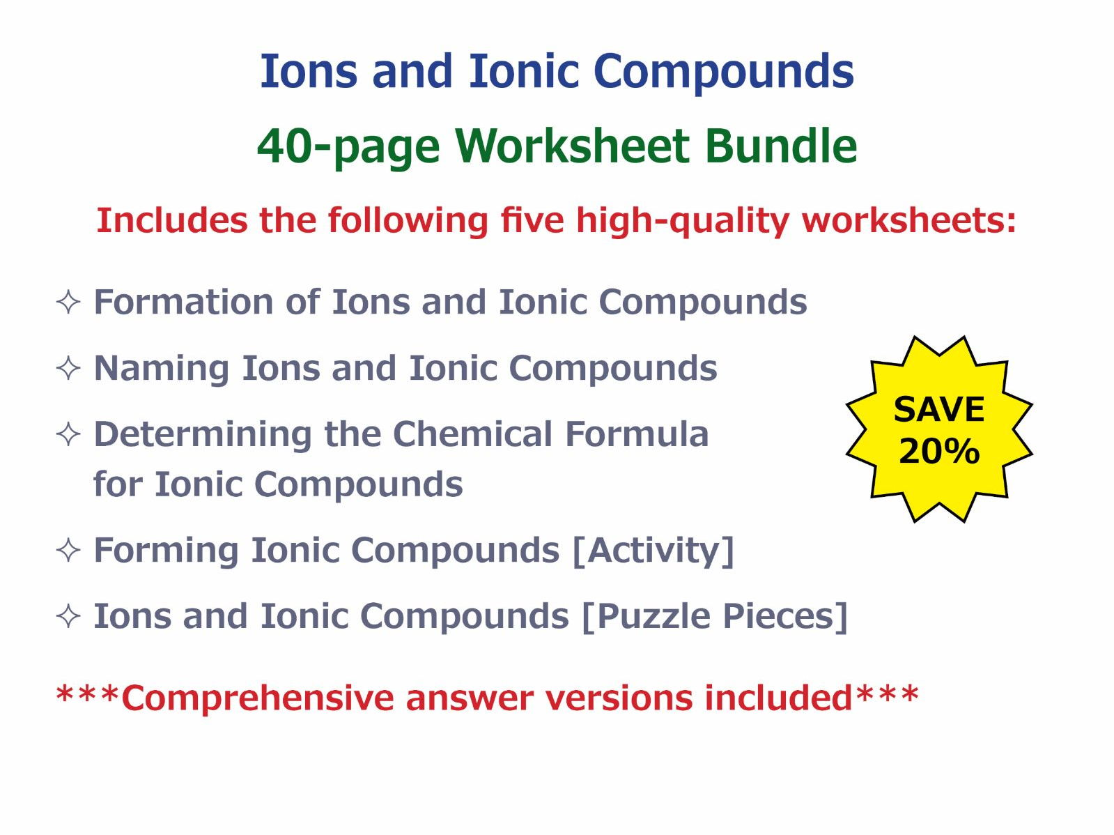 Ions And Ionic Compounds Worksheet Bundle By