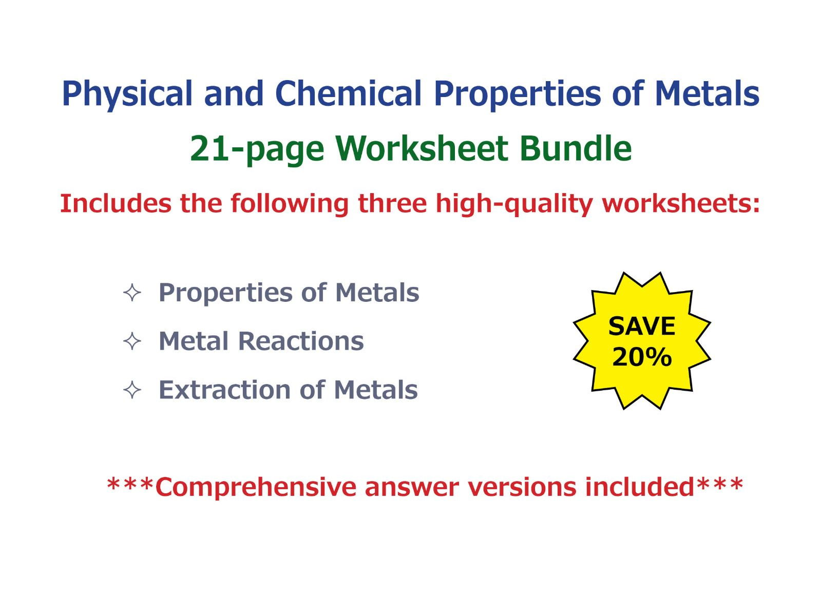 Physical And Chemical Properties Of Metals Worksheet
