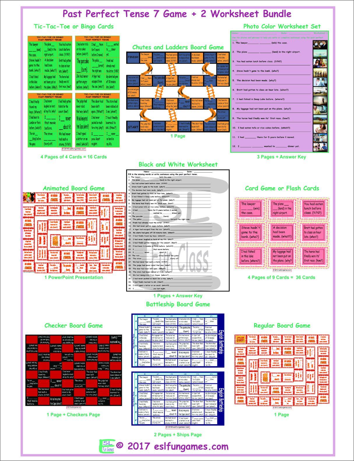 Past Perfect Tense 7 Game Plus 2 Worksheet Bundle