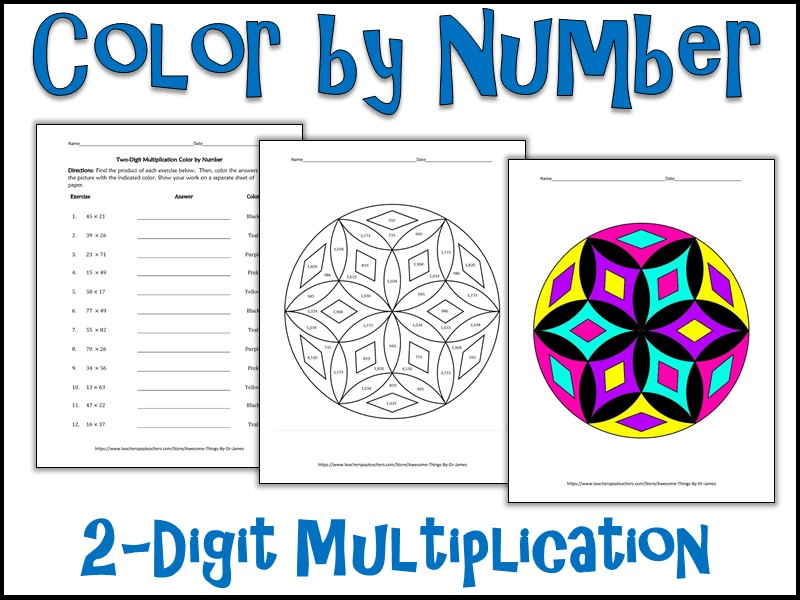 2 Digit Multiplication Color By Number Teaching Resources