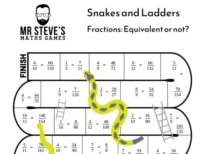 Equivalent Fractions Game Snakes And Ladders Simplify Year