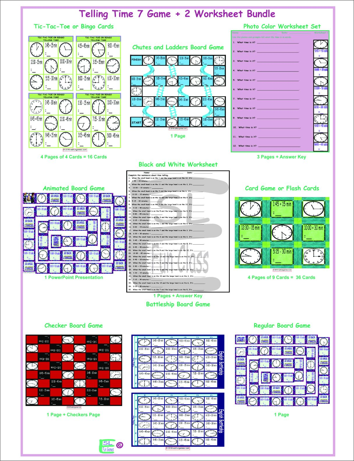 Telling Time 7 Game Plus 2 Worksheet Bundle