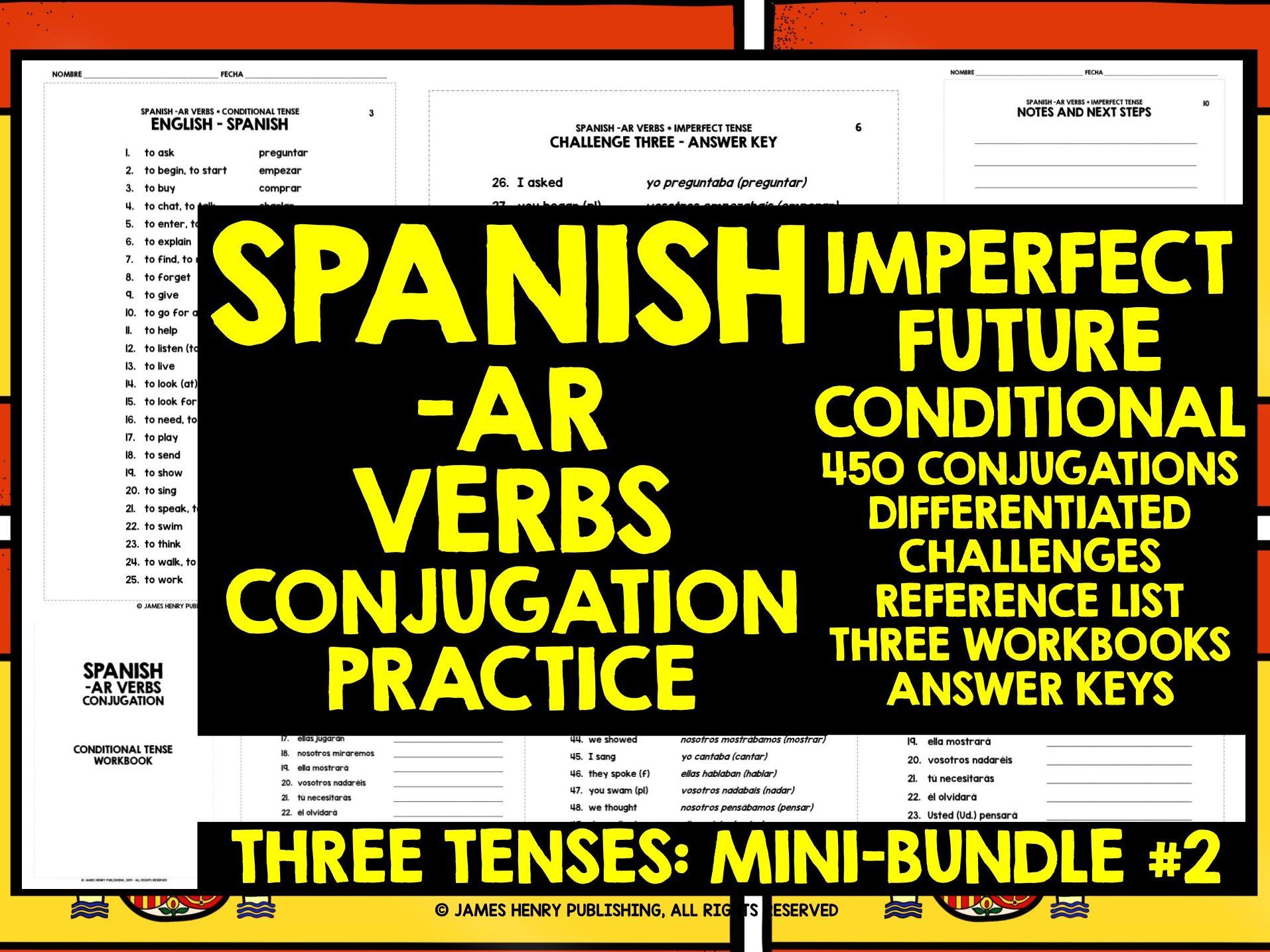 Spanish Ar Verbs Conjugation Mini Bundle 2