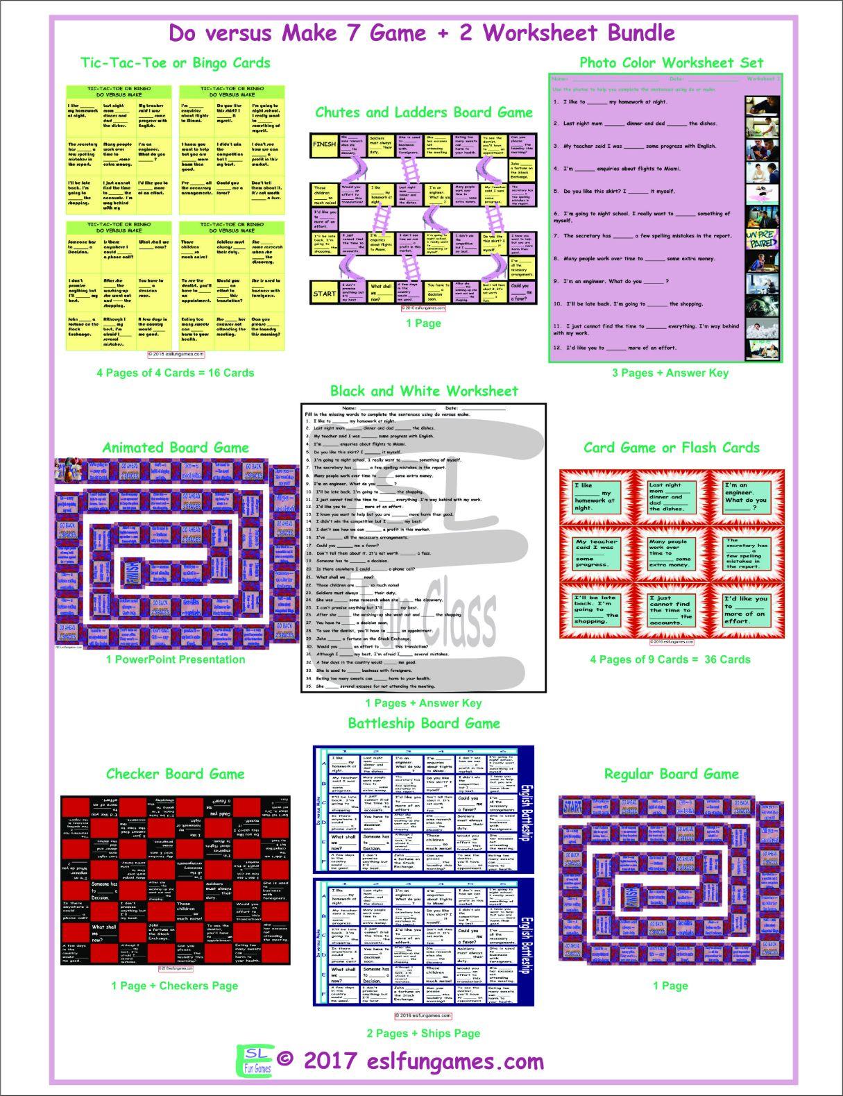 Do Versus Make 7 Game Plus 2 Worksheet Bundle