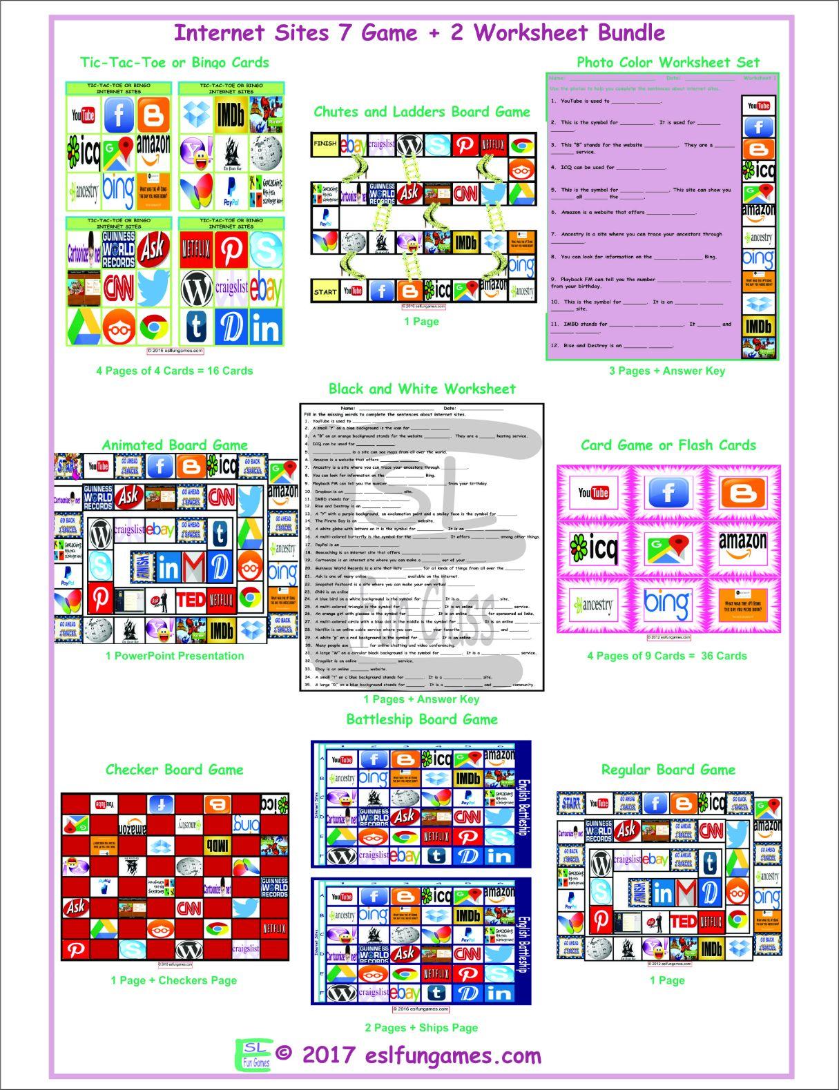 Internet Sites 7 Game Plus 2 Worksheet Bundle By