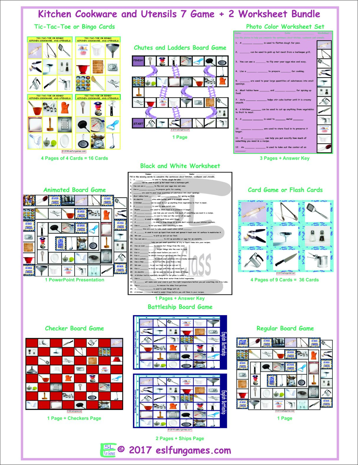 Kitchen Cookware And Utensils 7 Game Plus 2 Worksheet
