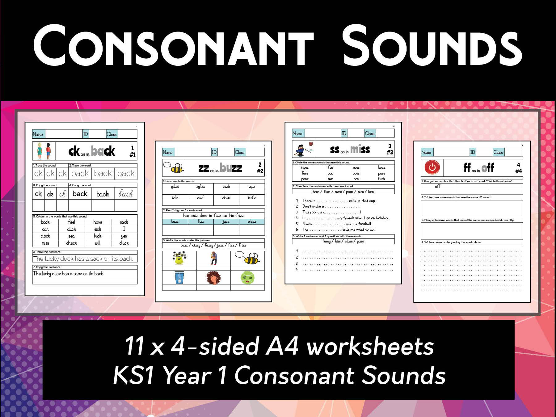 Ks1 Year 1 Consonants Spelling Amp Phonics Worksheets By Abteachingmaterials