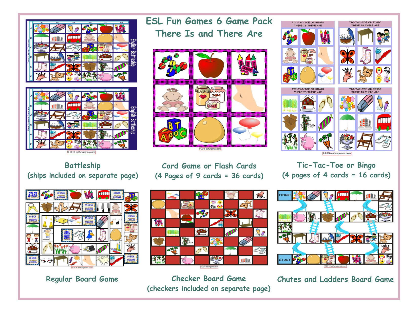 There Is And There Are 6 Board Game Bundle By Eslfungames