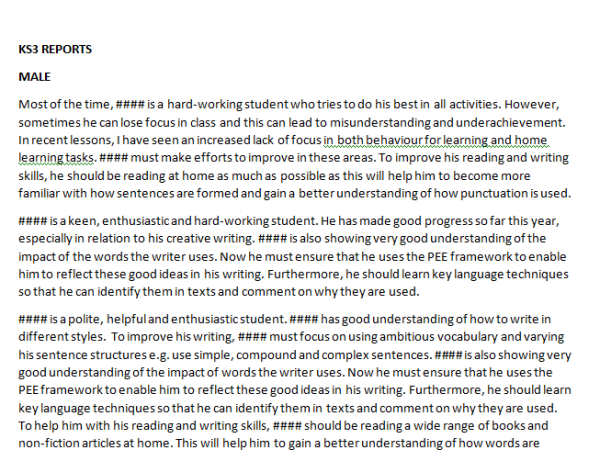 KS3 ENGLISH PUPIL REPORT COMMENTS | Teaching Resources