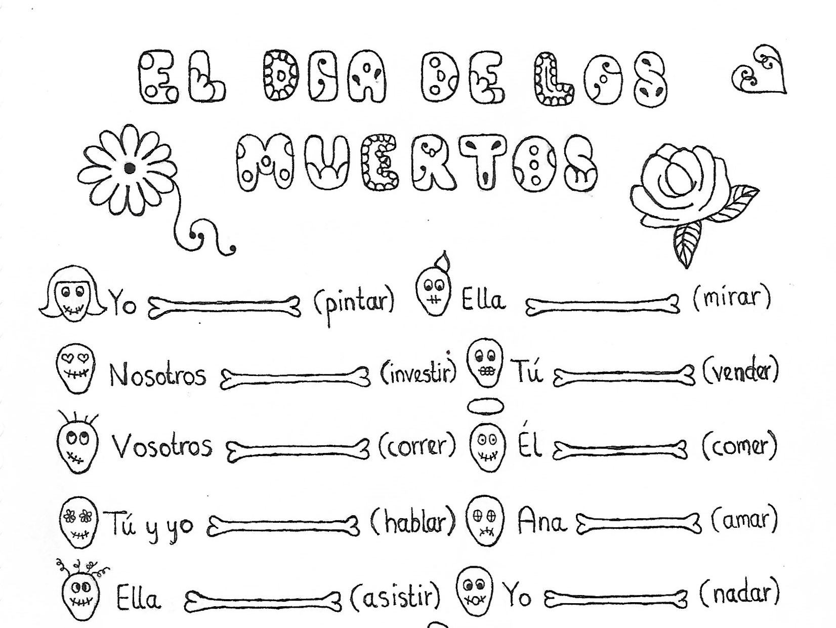 Spanish Day Of The Dead Bundle 2 Fun No Prep Worksheets By