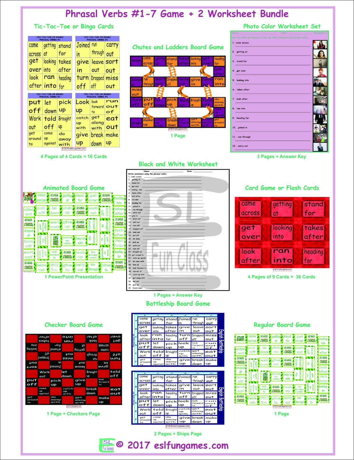 Phrasal Verbs 1 7 Game Plus 2 Worksheet Bundle By Eslfungames
