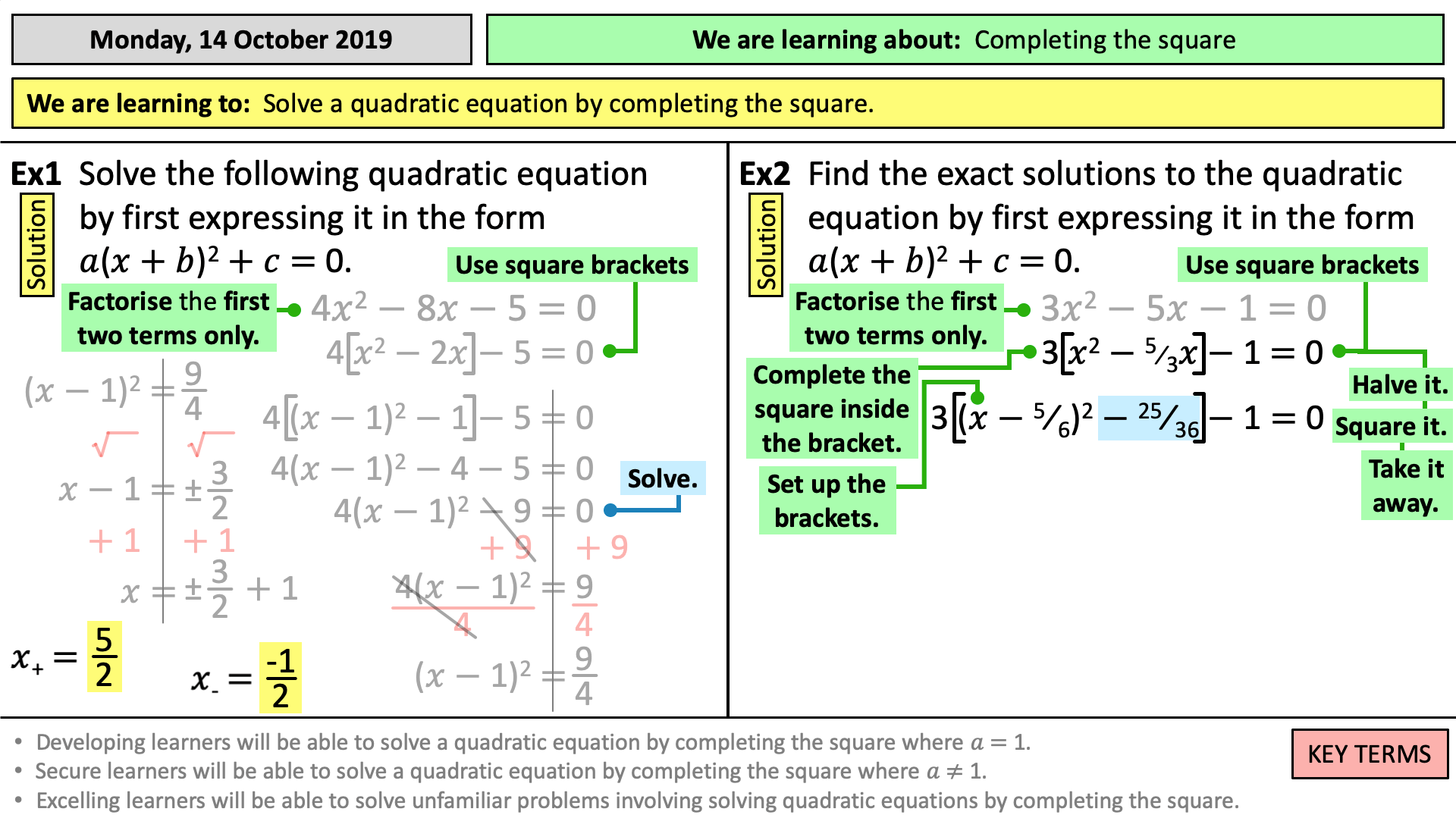 Solving Quadratic Equations With Coefficients Tes
